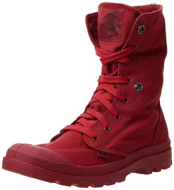 PALLADIUM Mono Chrome Baggy Unisex Cloth Lace Up Foldover Collar Maroon Combat Hiking Boots