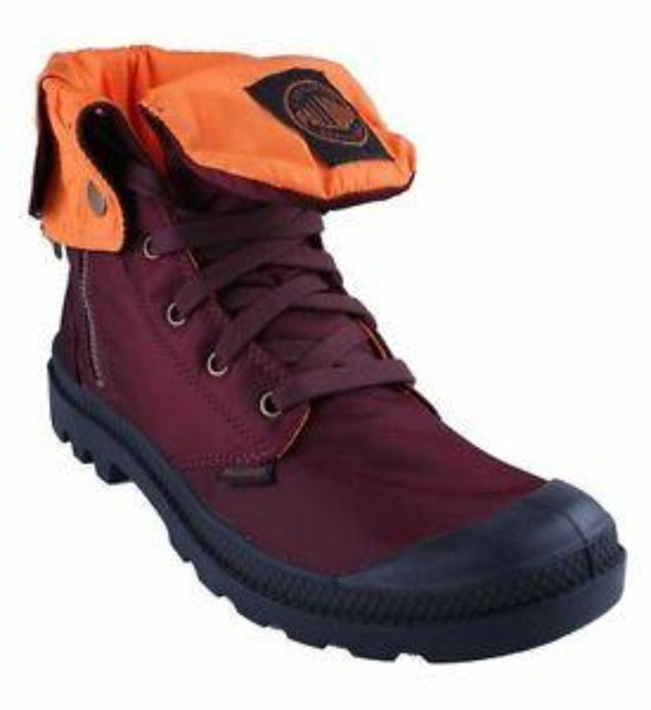 PALLADIUM Baggy Zip MA-1 Maroon/Orange Women's Fold Down Zipper Combat Hiking Boots