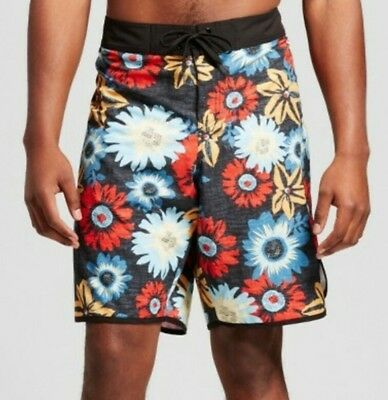 MOSSIMO Supply Co. Java Black Tropical Flora Bathing Suit Men's Size 44 Big & Tall