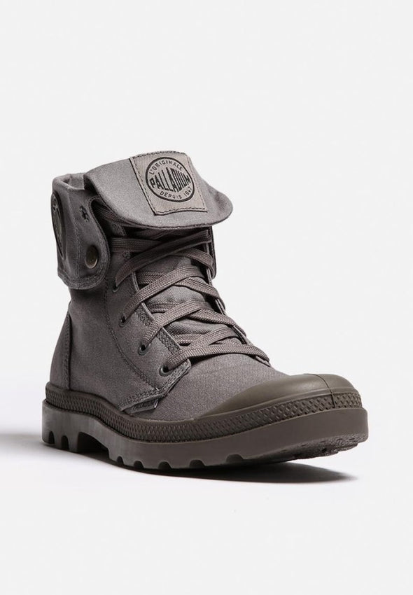 PALLADIUM Mono Chrome Baggy Unisex Fold Down Canvas Boots in Dark Gray
