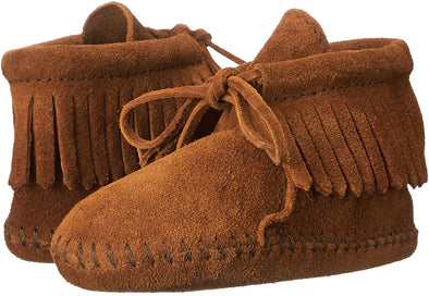 Minnetonka Moccasin Fringe Suede Brown Soft Sole Toddler/Infant Bootie #1482
