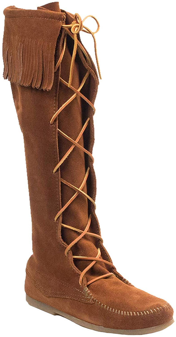 Minnetonka Moccasin Suede Brown Knee High Leather Tie Men's Boots #1922