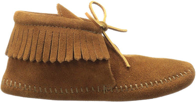 Minnetonka Moccasin Brown Soft Sole Tie Suede Fringe Bootie Little Kid #2482