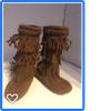 Minnetonka Moccasin Suede 3 Layer Fringe Side Zip Girl's Boots #2652 Brown