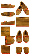 Minnetonka Women's #327X Taupe Lorange Kilty Suede Leather Moccasin Runs Large