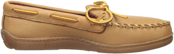 Minnetonka Moccasin Men's Moose Leather Shoes with Fleece #3950X Natural