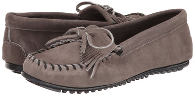 Minnetonka Women's #401T Grey Kilty Suede Leather Moccasin Runs Large