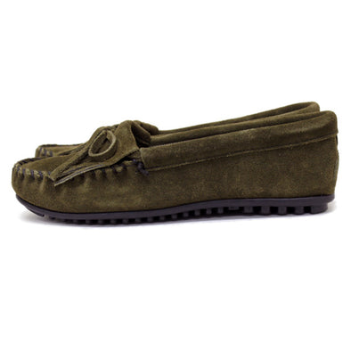 Minnetonka Women's #405F Olive Green Kilty Suede Leather Moccasin