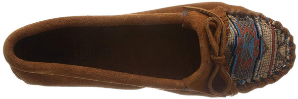 Minnetonka Women's #472K Brown El Paso Kilty Suede Leather Moccasin Runs Large