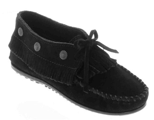 Minnetonka Women's #530 Fringed With Metal Studs Black Moccasin Shoes