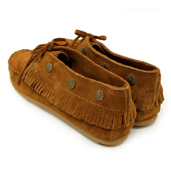Minnetonka Women's #532 Fringed With Metal Studs Rust Brown Moccasin Shoes