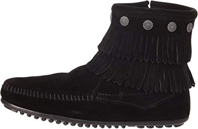 Minnetonka Moccasin Black Double Fringe Suede Back Zip Women's Boots #699