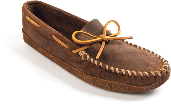 Minnetonka #723 Brown Ruff Leather Men's Double Bottom Soft Sole Moccasin