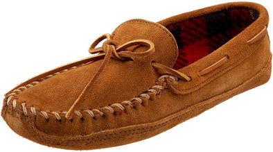 Minnetonka Men's Double Bottom Fleece Slipper #773 Softsole Brown