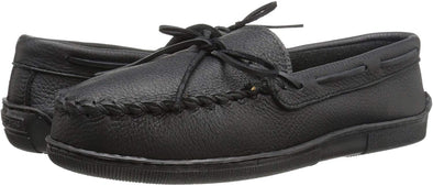 Minnetonka Men's Classic Black Moosehide Leather Moccasin Shoe #899