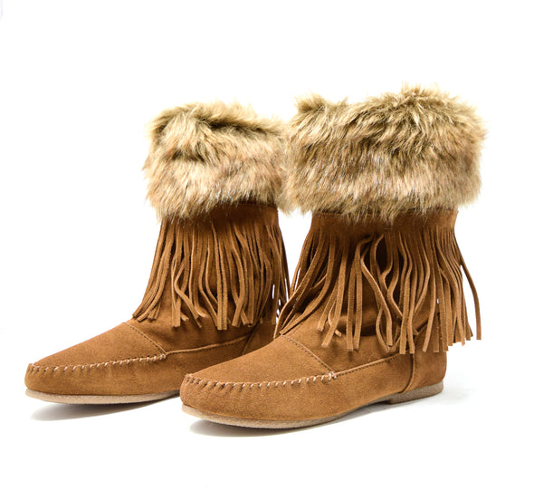 Minnetonka Mid Calf Suede Dusty Brown with Fur Cuff & Fringe Women's Size 7