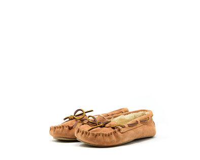 Minnetonka Women's Cally Faux Fur Slipper Cinnamon Suede #4011