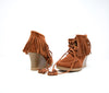 Minnetonka Women's Cinnamon Brown Suede Tie Fringe Wedge Ankle Boots Size 6