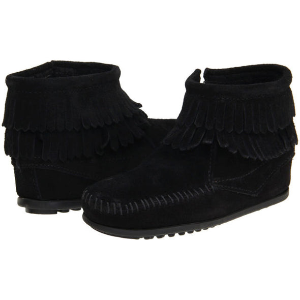 Minnetonka Black Double Fringe Ankle Boot #2290 Big Girl's Run Large