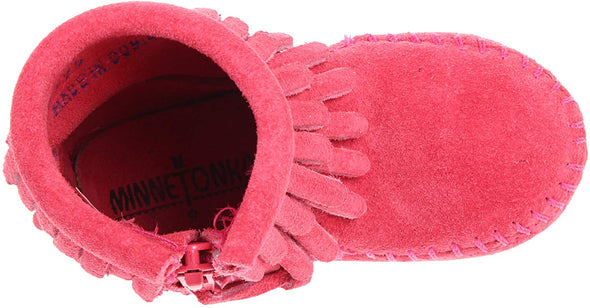 Minnetonka Pinkk Double Fringe Ankle Boot #2295 Big Girl's Run Large