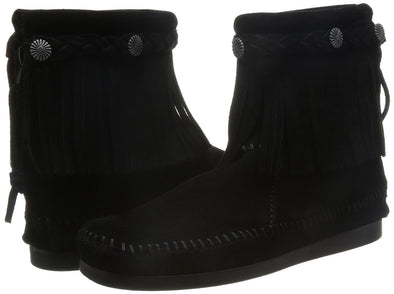 Minnetonka Black Concho Hi-Top Back Zip Ankle Women's Fringe Boot #299