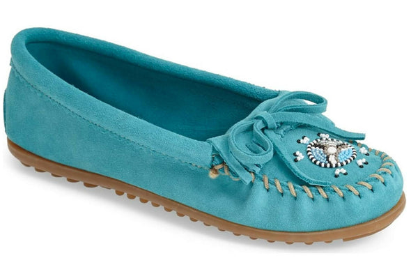 Minnetonka Women's Me to We Moccasin Turquoise Suede #401J SZ 9.5