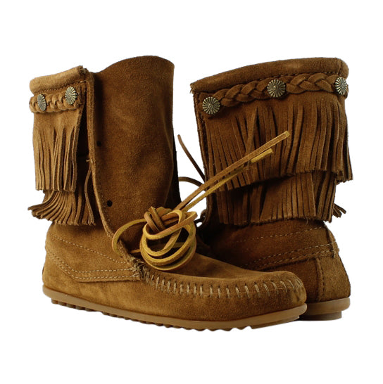 Minnetonka Women's Double Fringe Tramper Boot Dusty Brown Style 623