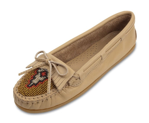 Minnetonka Sand Color Beaded Kilty Women's Leather Moccasin #637