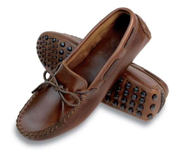 Minnetonka Smooth Leather Women's Dark Brown Lariat Driving Moccasins 698