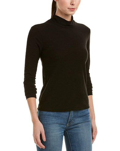 JAMES PERSE Twist Mock Neck Long Sleeve BLACK Shirt Size (2) Medium