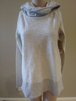PINK LOTUS Women's White & Grey Striped Cowl Neck Tunic Sweater
