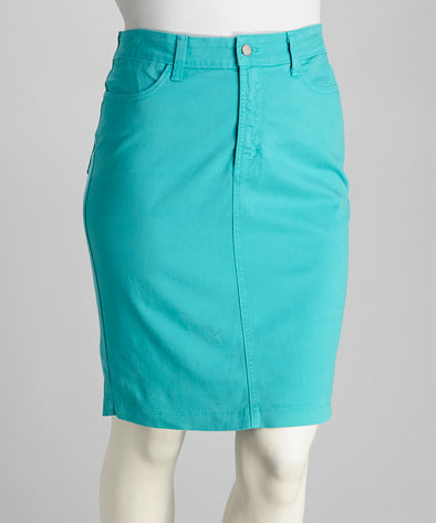 NYDJ Not Your Daughters Jeans Glary Aqua Blue Back Pockets Jean Skirt Size 4