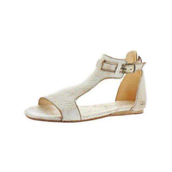 Bed Stu Sable Nectar Lux (Distressed Bone Color) Open Toe Ankle Buckle Strap Flats Sandals