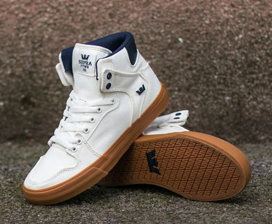 Supra Vaider Men's Hi-Top Skate Boarding Shoe Off White/Blue Nights-Gum