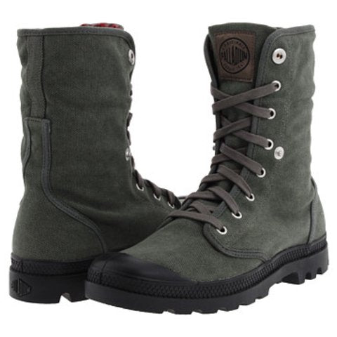 PALLADIUM Baggy Women's Fold Down Lace Up High Top Sneaker Hiking Boots in Stonewash