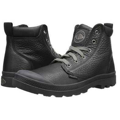 PALLADIUM Pampa Hi Cuff Lea Black/Metal Men's Leather Lace Up Ankle Chukka Boots