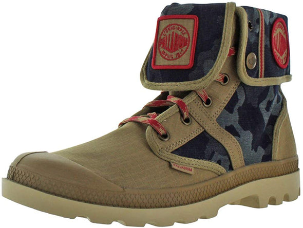 PALLADIUM Pallabrouse Baggy EXTX Unisex Dark Khaki/Red/Mojave Camouflage Fold Over Combat Hiking Boots