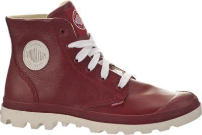 PALLADIUM Blanc Hi Lea Unisex Leather Ankle Chukka Boots in Rio Red/White