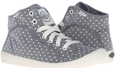 Palladium Flex Lace Mid PD Women's Gray/Antique White/Polka Dots High Top Canvas Sneakers
