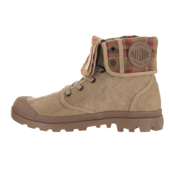 PALLADIUM Baggy Women's Fold Down Lace Up Hiking Combat Boots Stone Dark Khaki