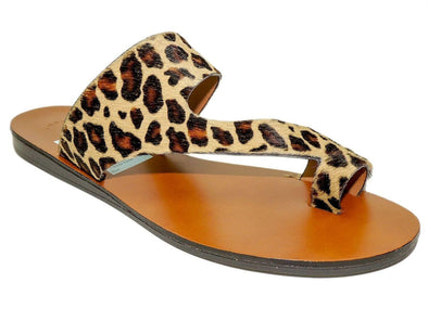 Kenneth Cole Women's Palm Sandal Toe Ring Loop Natural Leopard Sandals Size 8 M
