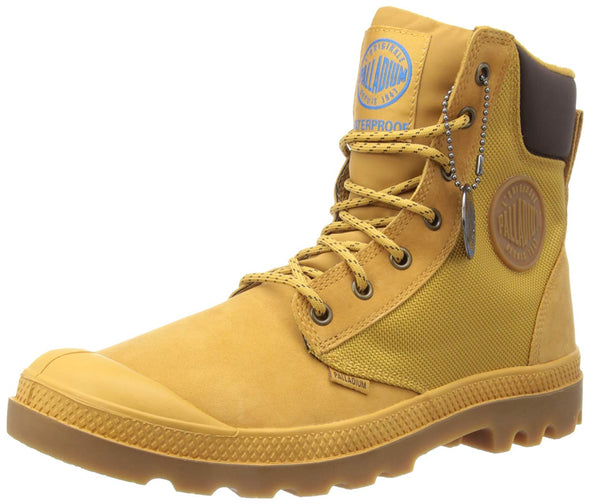 Palladium Men's Pampa Sport Cuff WP2 Amber Gold/Gum Lace Up Ankle Hiking Boots