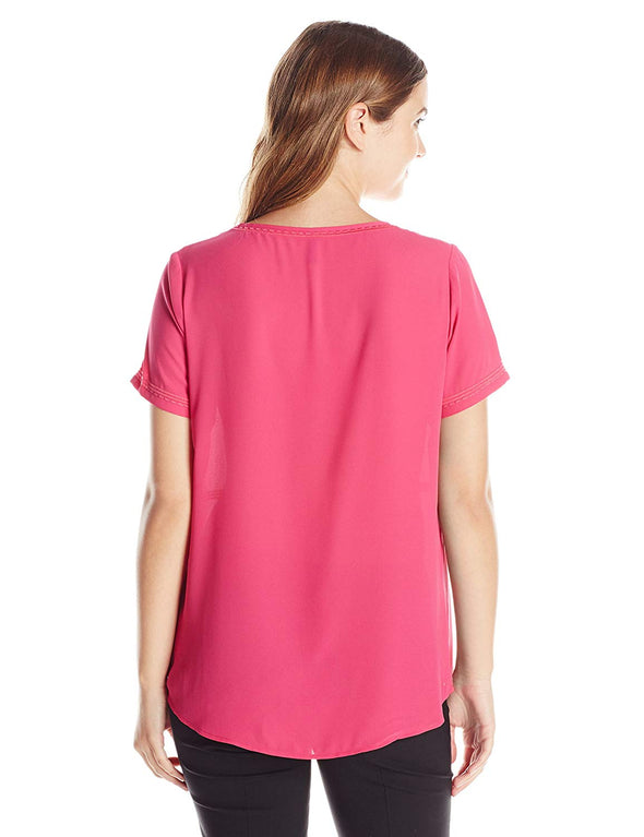 NYDJ Women's Embroidered Blouse Pink Berry Small Short Sleeves