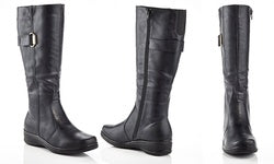 RASOLLI Lala Knee High Faux Leather Riding Boots in Black