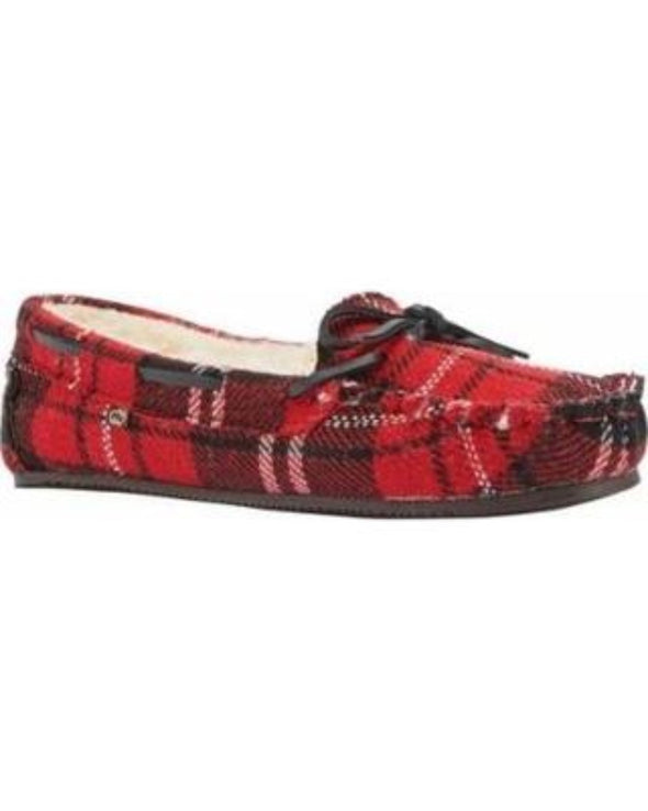 Lamo Britain Moc ll Leather Lace Red Plaid Suede Faux Fur Lining Slip-On Women's Moccasin