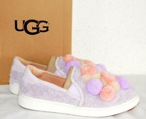 UGG Women's LAVENDER PINK London Fog Ricci  Slip-On SNEAKERS With POM POM