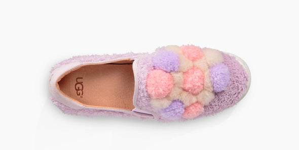 UGG Big Girl's LAVENDER PINK London Fog Ricci Slip-On SNEAKERS With POM POM