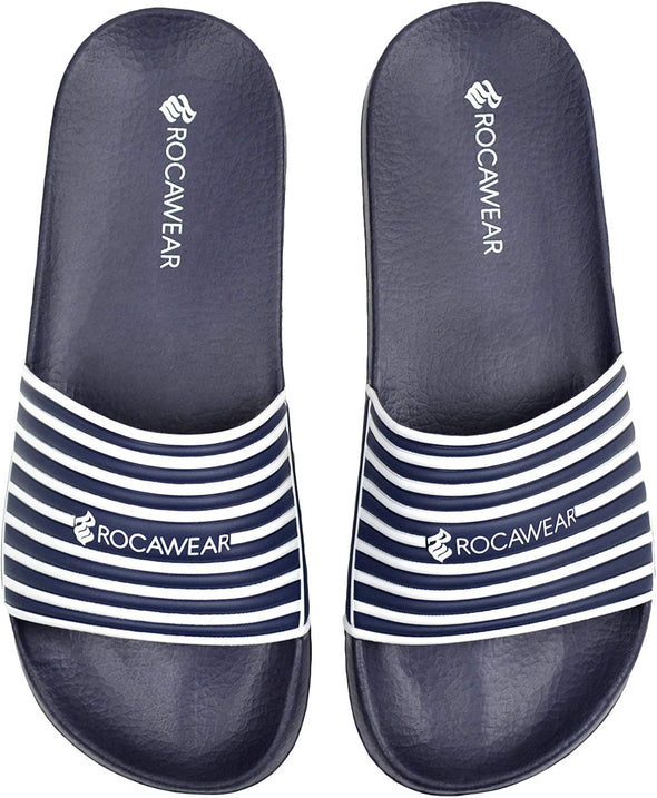 Rocawear Shoes Men'S Slip-On Pool Slides Navy White Stripes L (11-12)