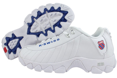 K SWISS ST329 Heritage Men's Memory Foam Athletic Sneakers in White/Classic Blue/Ribbon Red