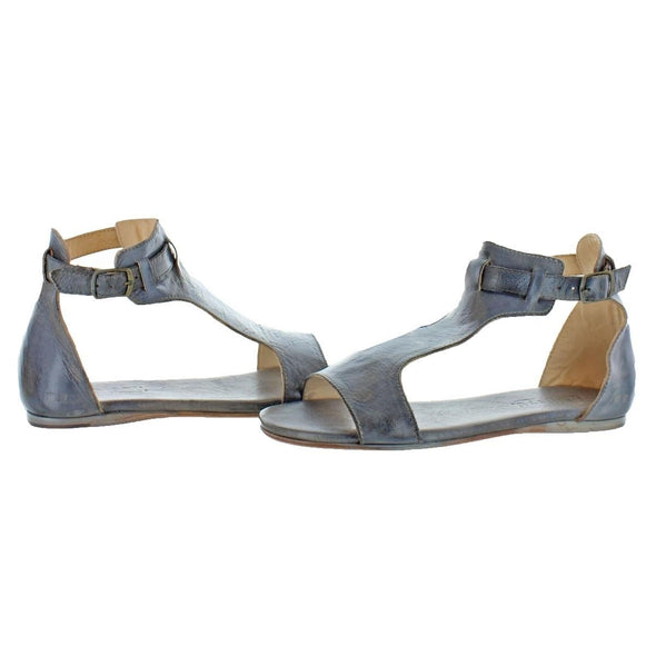 Bed Stu SABLE Leather Back Buckle Ankle Strap Flat Sandal Grey Mason Gray